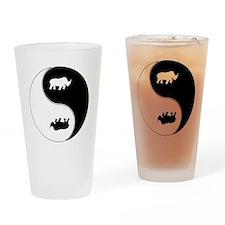 Yin Yang Rhinoceros Symbol Drinking Glass