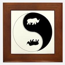 Yin Yang Rhinoceros Symbol Framed Tile