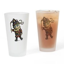 Harlequin Button Eyes Drinking Glass