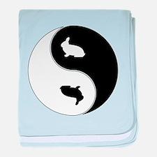Yin Yang Rabbit Symbol baby blanket