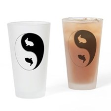 Yin Yang Rabbit Symbol Drinking Glass