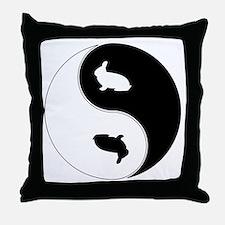 Yin Yang Rabbit Symbol Throw Pillow