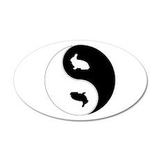 Yin Yang Rabbit Symbol 35x21 Oval Wall Decal