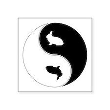 """Yin Yang Rabbit Symbol Square Sticker 3"""" x 3"""""""