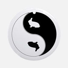 Yin Yang Rabbit Symbol Ornament (Round)