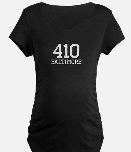 Baltimore Area Code 410 Maternity T-Shirt