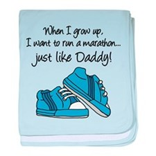 Run Marathon Just Like Daddy baby blanket