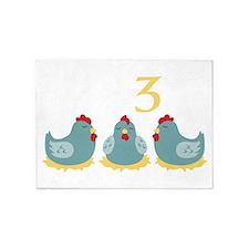 Number Three 5'x7'Area Rug