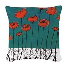 Devotchka Poppies Woven Throw Pillow