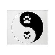 Yin Yang Paw Print Symbol Throw Blanket