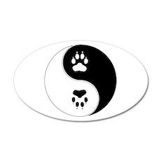 Yin Yang Paw Print Symbol Wall Sticker