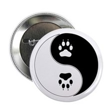"Yin Yang Paw Print Symbol 2.25"" Button"