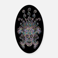Mind Blown Sugar Skull Oval Car Magnet