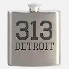 Detroit Area Code 313 Flask