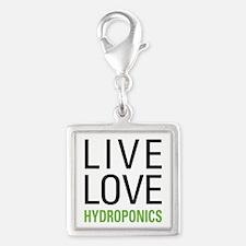 Live Love Hydroponics Silver Square Charm