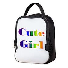 Cute Girl Neoprene Lunch Bag