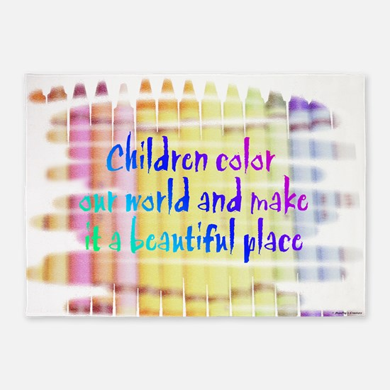 children color our world.png 5'x7'Area Rug