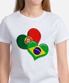 Portugal and Brazil hearts Tee