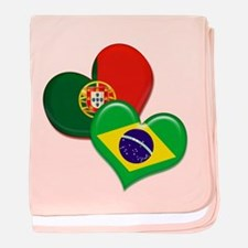 Portugal and Brazil hearts baby blanket