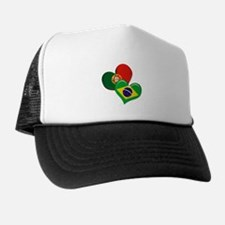 Portugal and Brazil hearts Trucker Hat