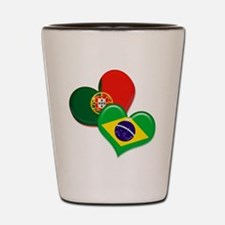 Portugal and Brazil hearts Shot Glass