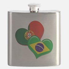 Portugal and Brazil hearts Flask