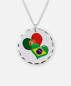 Portugal and Brazil hearts Necklace