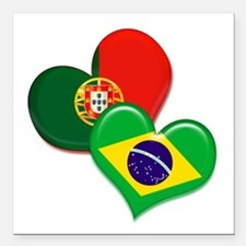 "Portugal and Brazil hearts Square Car Magnet 3"" x"