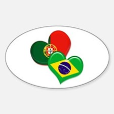 Portugal and Brazil hearts Decal