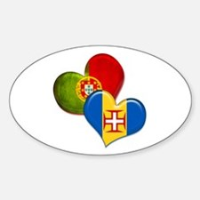 Portugal and Madeira hearts Sticker (Oval)