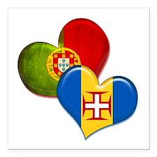 "Portugal and Madeira hea Square Car Magnet 3"" x 3"""