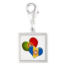 Portugal and Madeira hearts Silver Square Charm