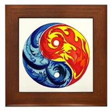 Yin-Yang Fire and Ice Framed Tile