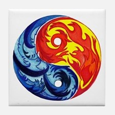 Yin-Yang Fire and Ice Tile Coaster