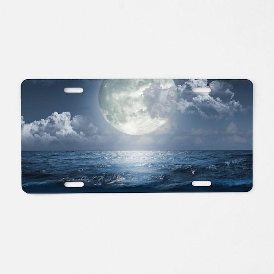 Night Ocean Aluminum License Plate