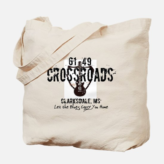 61/49 Crossroads Highway Sign with Guitar Tote Bag