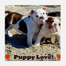 English Bulldog Puppy Love Tile Coaster