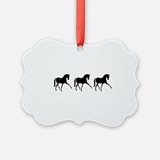 Dressage Horse Sidepass Trio Ornament