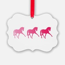 Dressage Horse Trio Pink Ombre Ornament