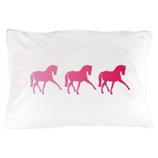 Dressage Horse Trio Pink Ombre Pillow Case