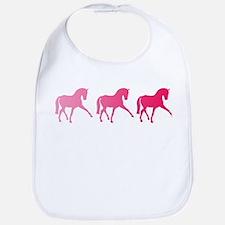 Dressage Horse Trio Pink Ombre Bib