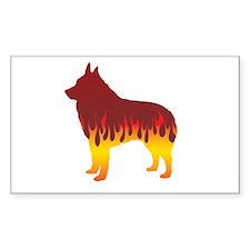 Schipperke Flames Rectangle Stickers