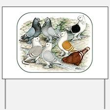 Classic Frill Barred Pigeons Yard Sign