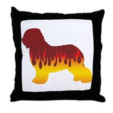 Schapendoes Flames Throw Pillow