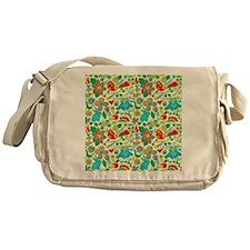 Colorful Retro Flowers And Owls Patt Messenger Bag