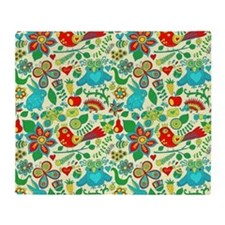 Colorful Retro Flowers And Owls Patt Throw Blanket
