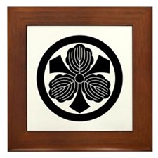 Three oak leaves with swords Framed Tile