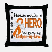 Leukemia Heaven Needed Hero 1.1 Throw Pillow