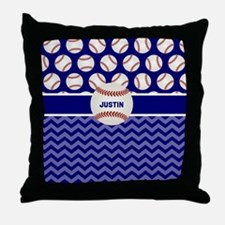 Baseball Blue Personalized Throw Pillow