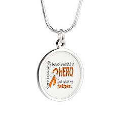 Leukemia Heaven Needed Hero Silver Round Necklace